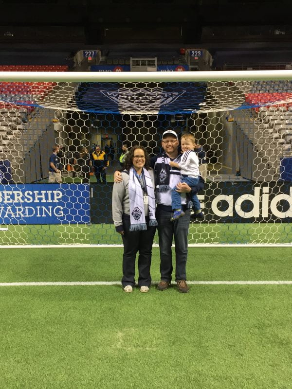 Family on Field at BC Place After Soccer Match