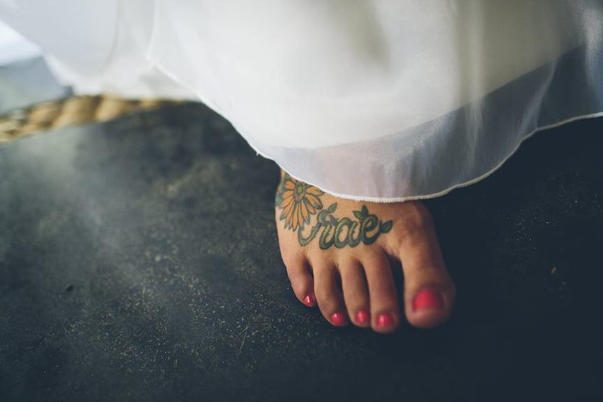 Sunflower Foot Tattoo on Wedding Day