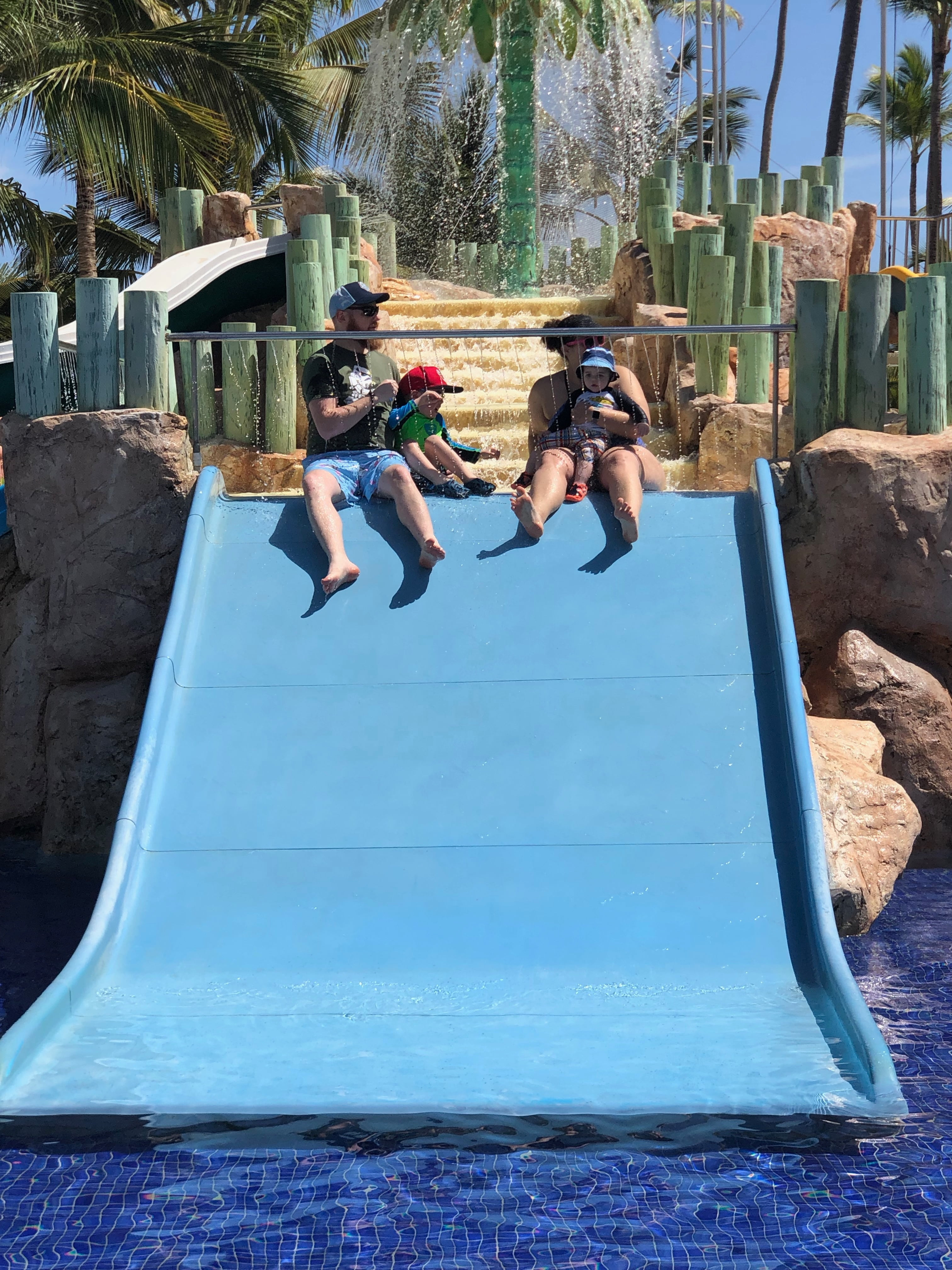 Family of Four on Waterslide
