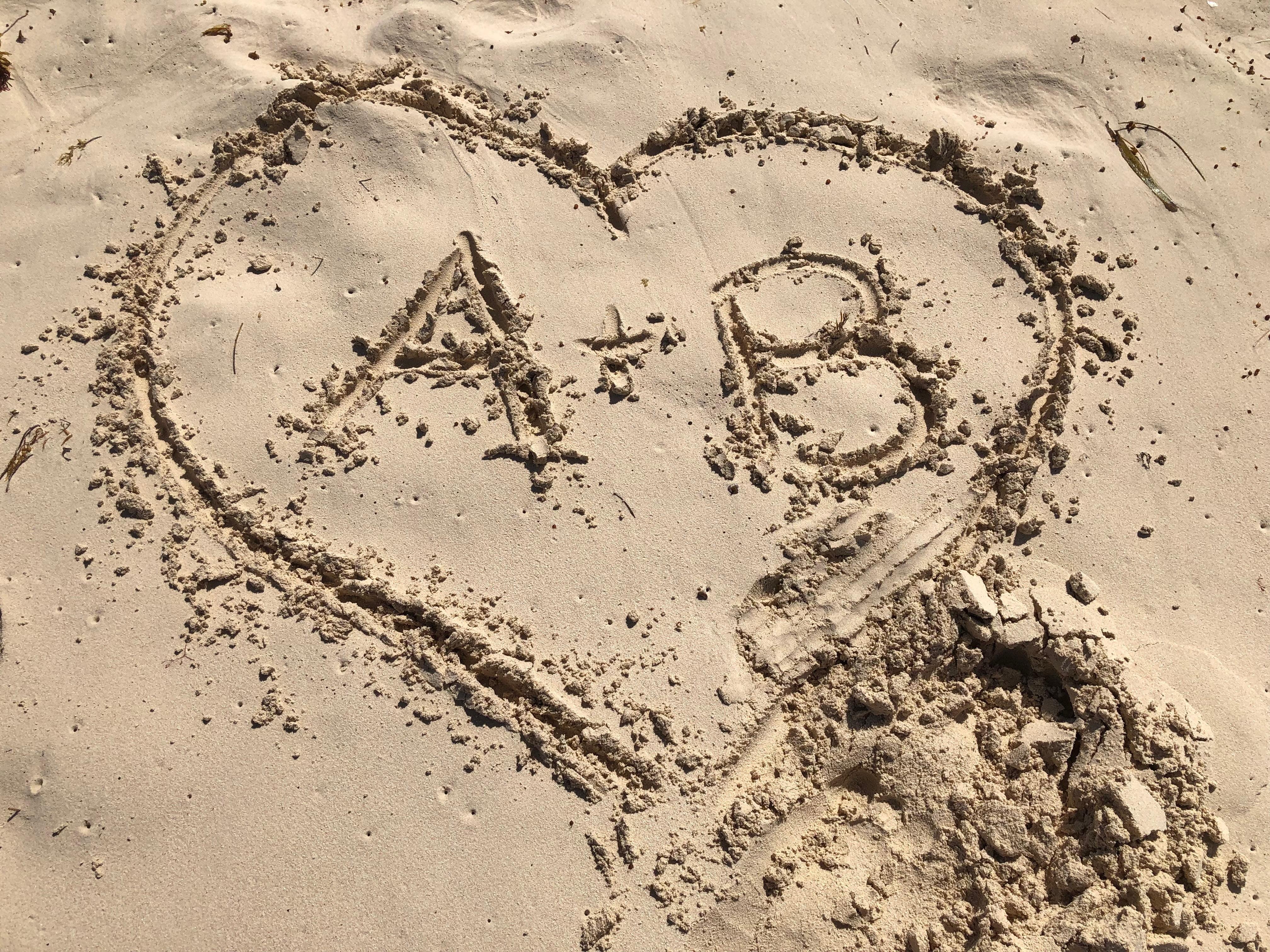 Initials in Heart written in Sand in Dominican Republic