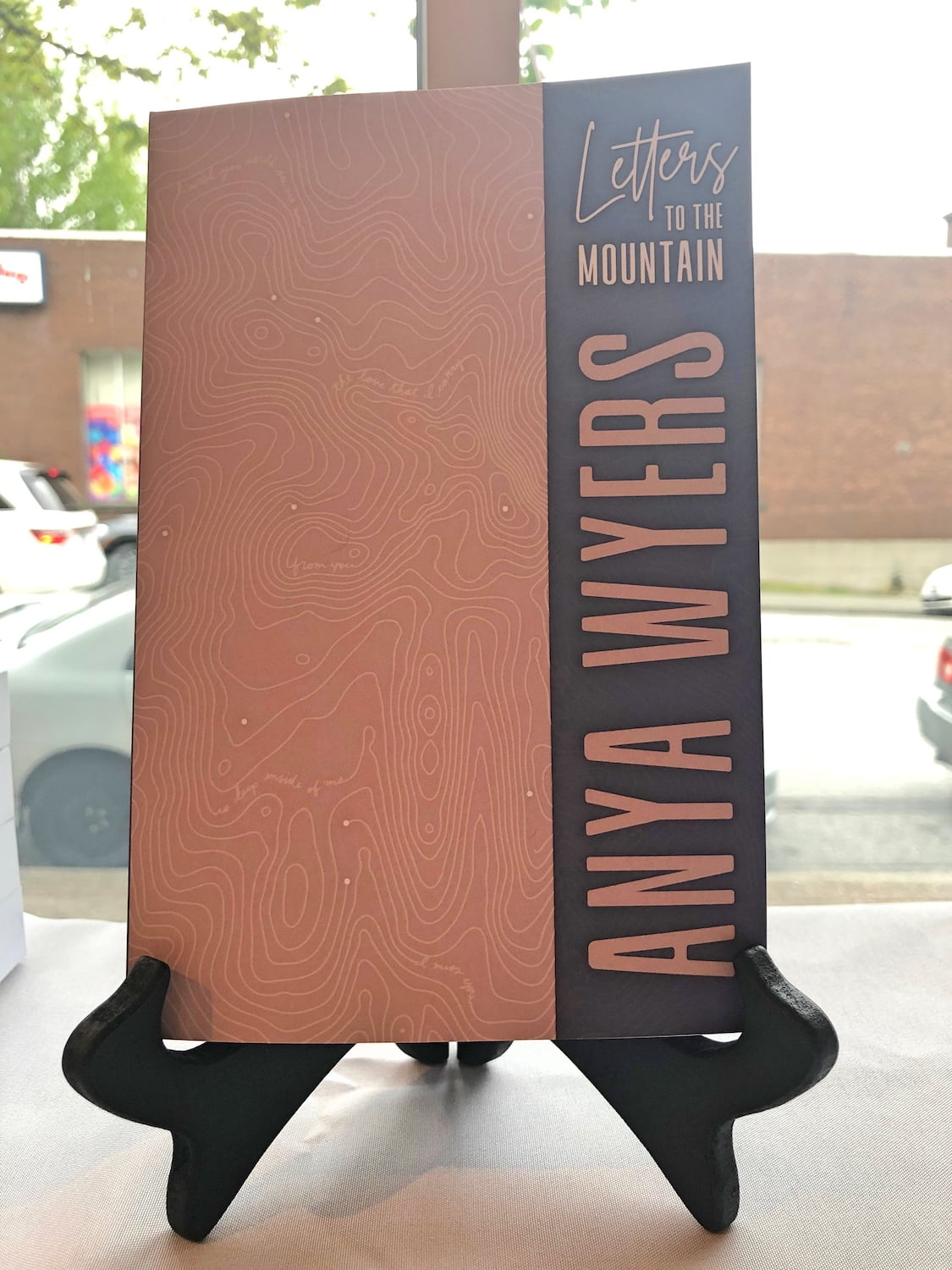 Letters to the Mountain Book Cover on Display