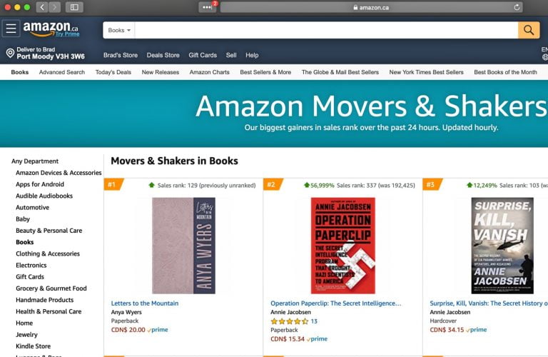 Screenshot of Movers and Shakers on Amazon