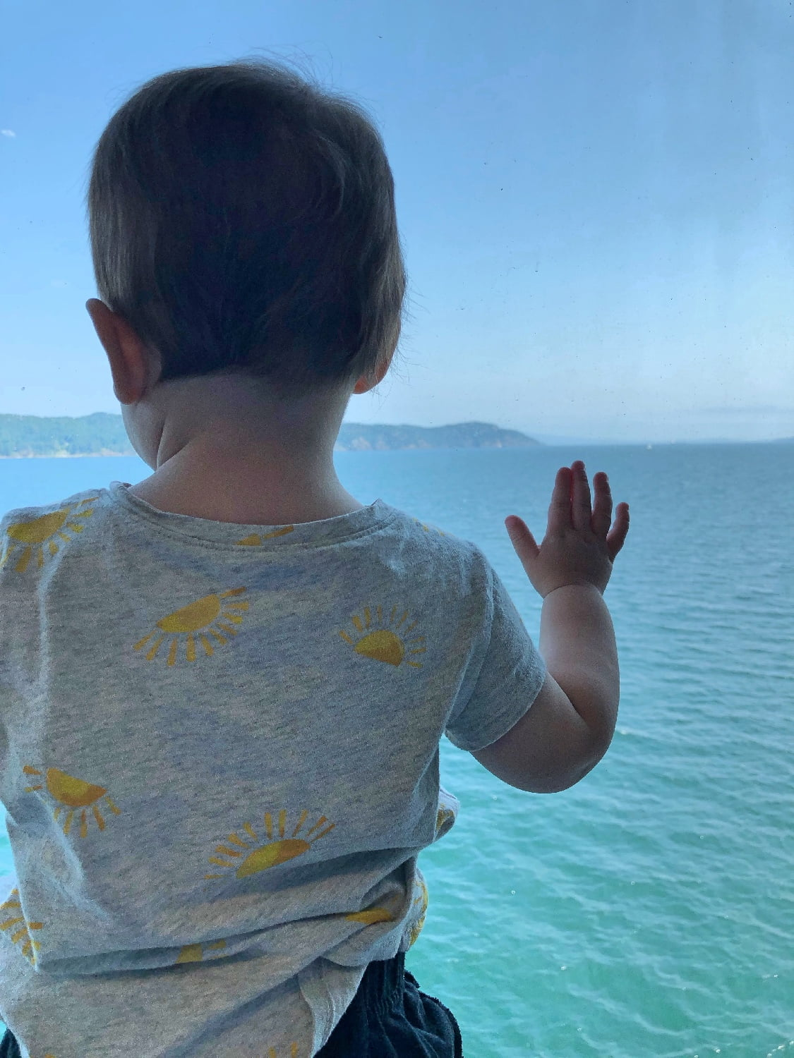 Toddler on BC Ferry Looking at Ocean