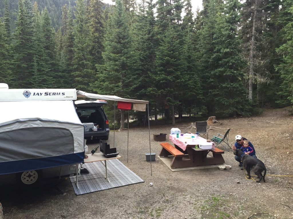 Camping Site with Tent Trailer - Manning Park