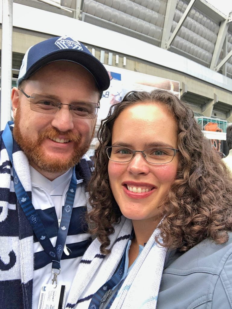 Couple at Vancouver Whitecaps Game - Mom Guilt-Free Zone