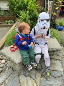 Darth Vader and Toddler Stop for Snacks