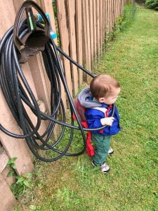 Toddler helping out at the garden