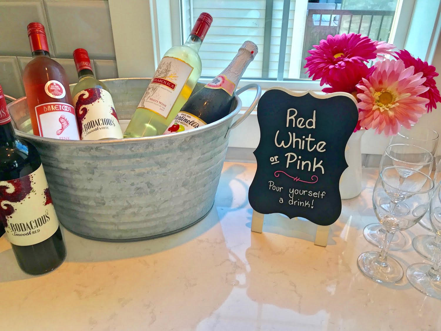 Bucket of Wine and Sign - Red, White or Pink, Pour Yourself a Drink