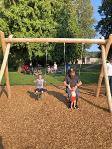Kids and Dad on Swings at Rocky Point
