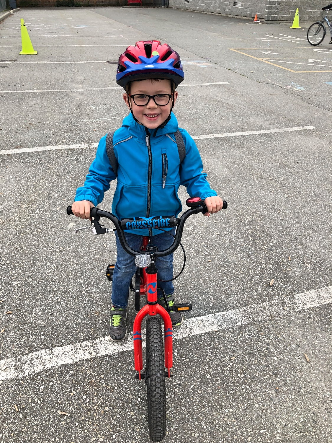 Proud Five Year Old Learning to Ride A Bike
