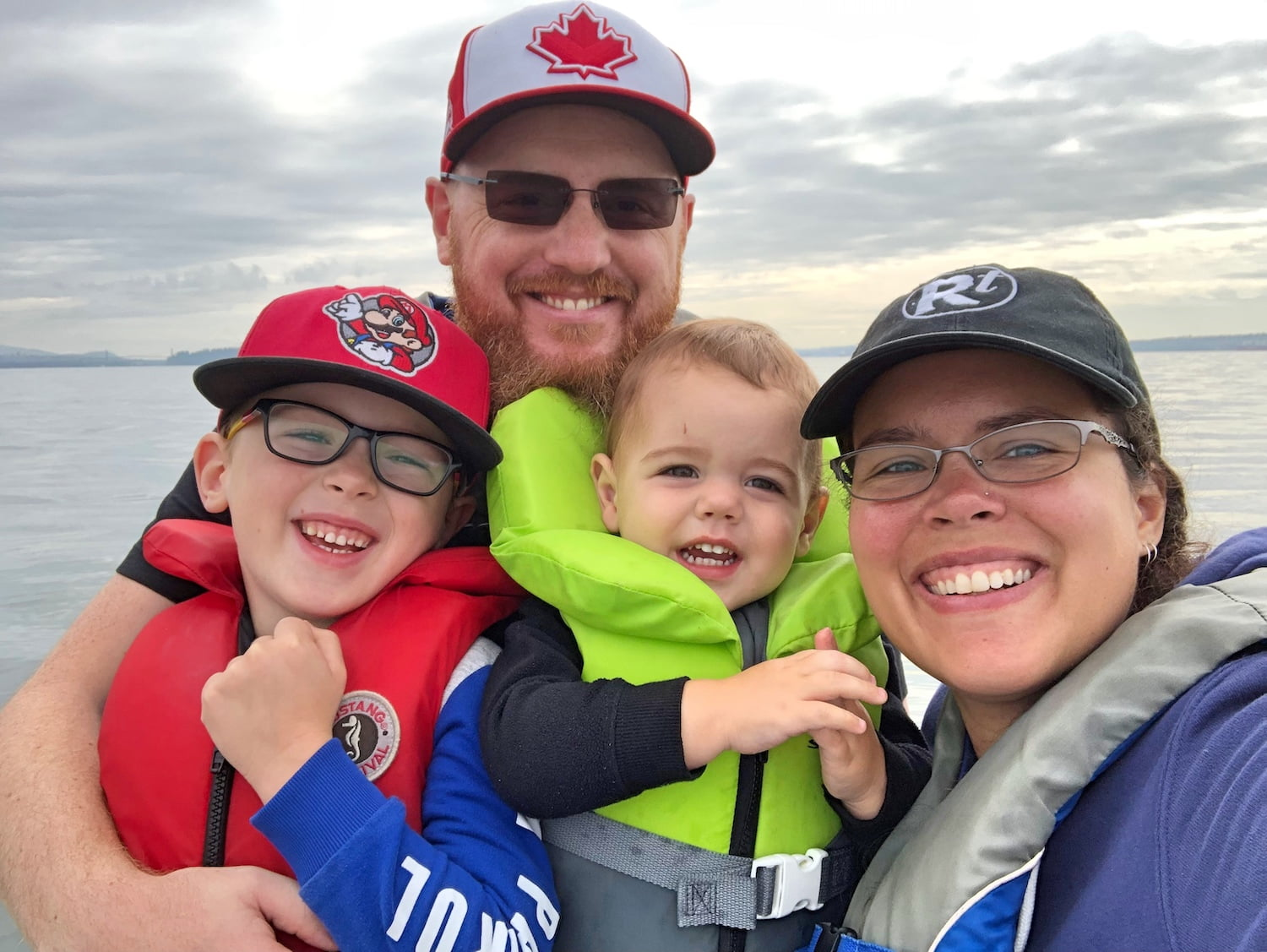 Family of Four on Boat in Vancouver