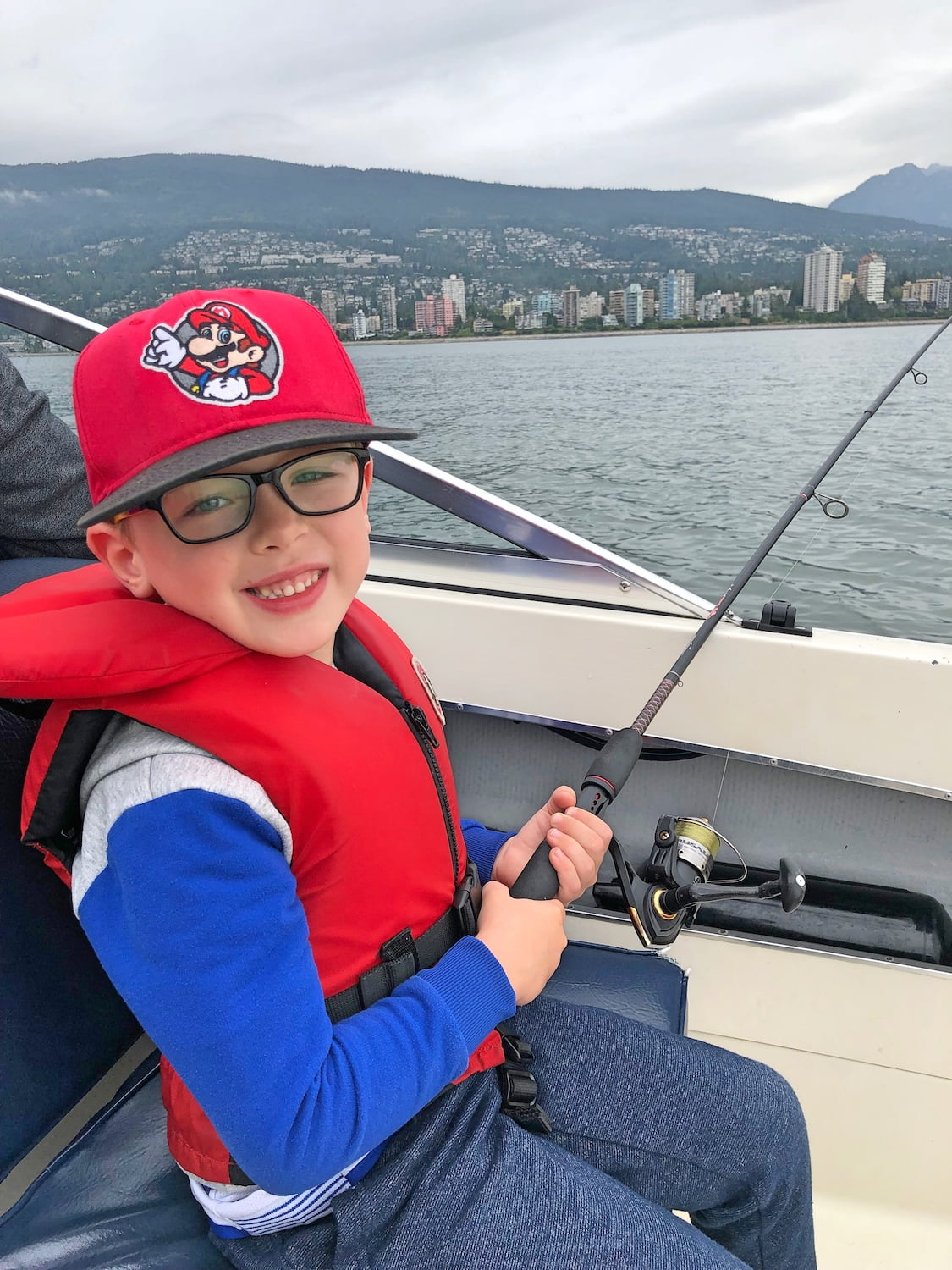 Five Year Old Fishing on Ocean