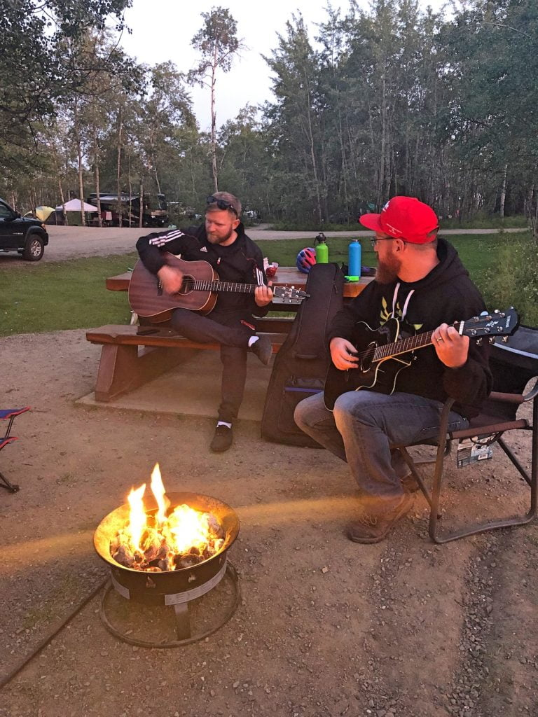 Guitar Jam Session Around Campfire - Camping with Friends