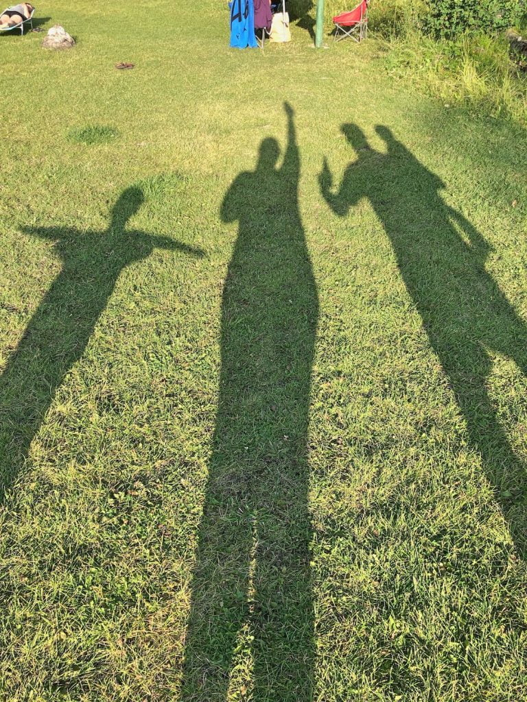 Shadows of Family of Four Posing