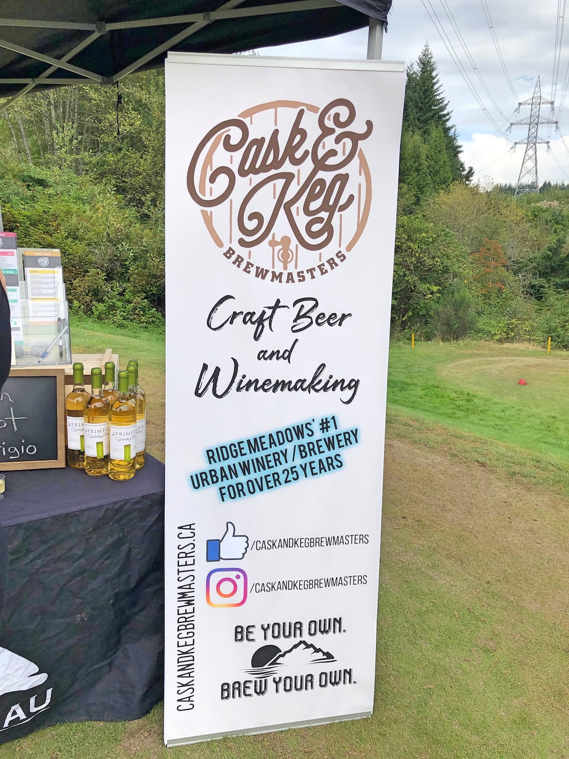 Cask & Keg Maple Ridge Sponsor Sign at Golf Tournament