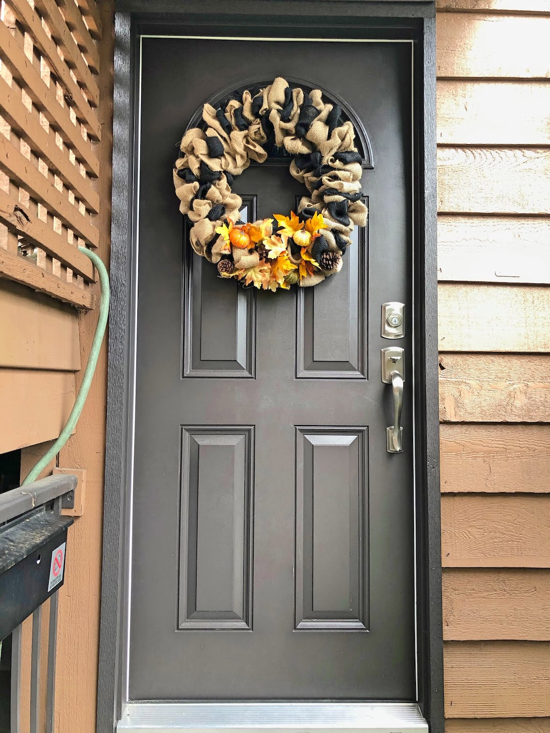 Brown Front Door with Fall Wreath