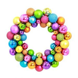 Colourful Wreath Made From Christmas Ornaments