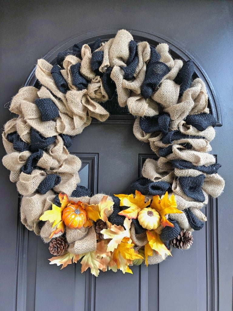 Fall Burlap Wreath with Pumpkins