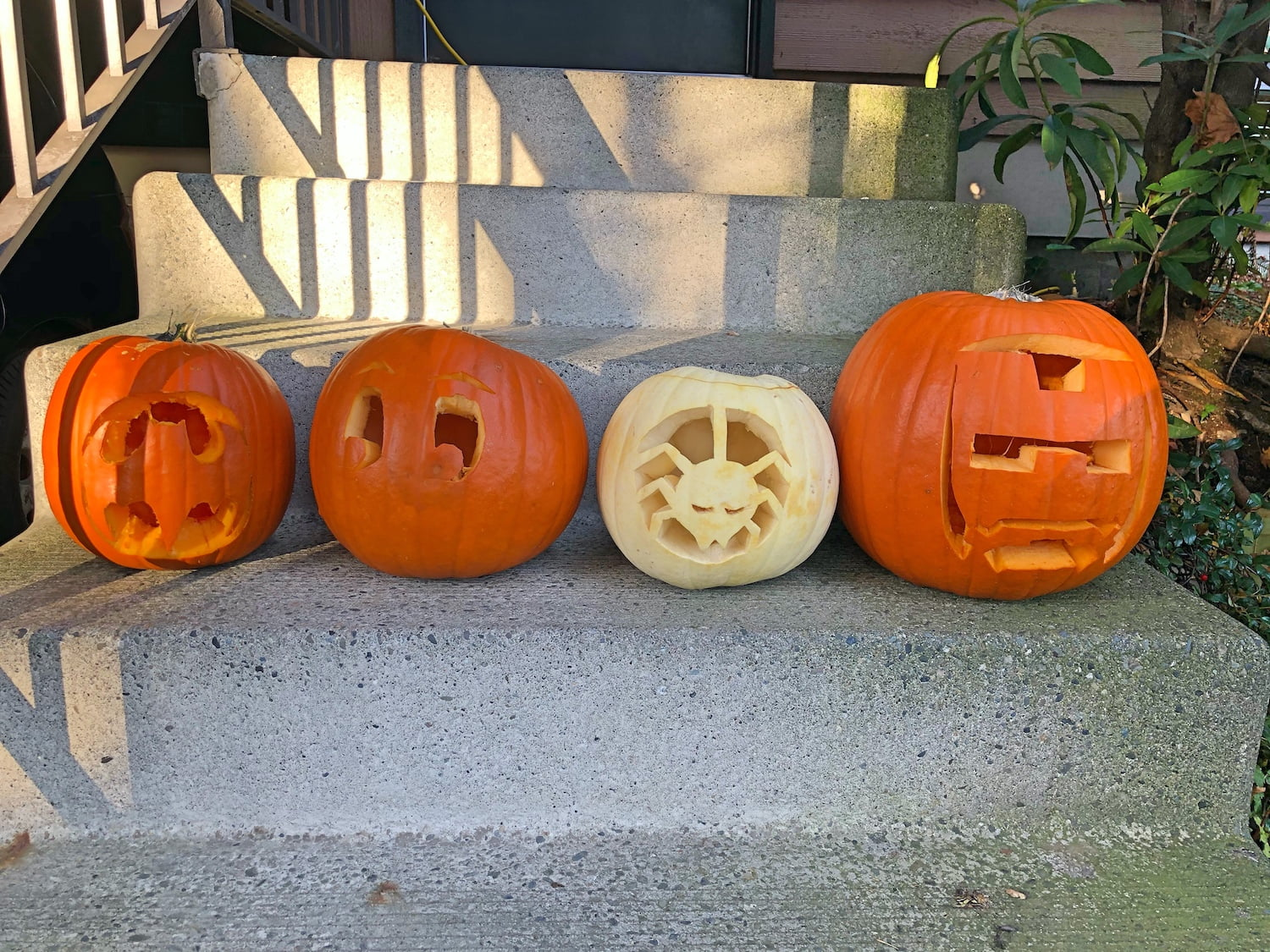Four Carved Pumpkins on a Step