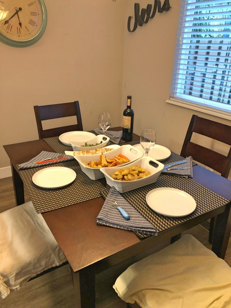 Table Set for Thanksgiving Dinner for Family of Four