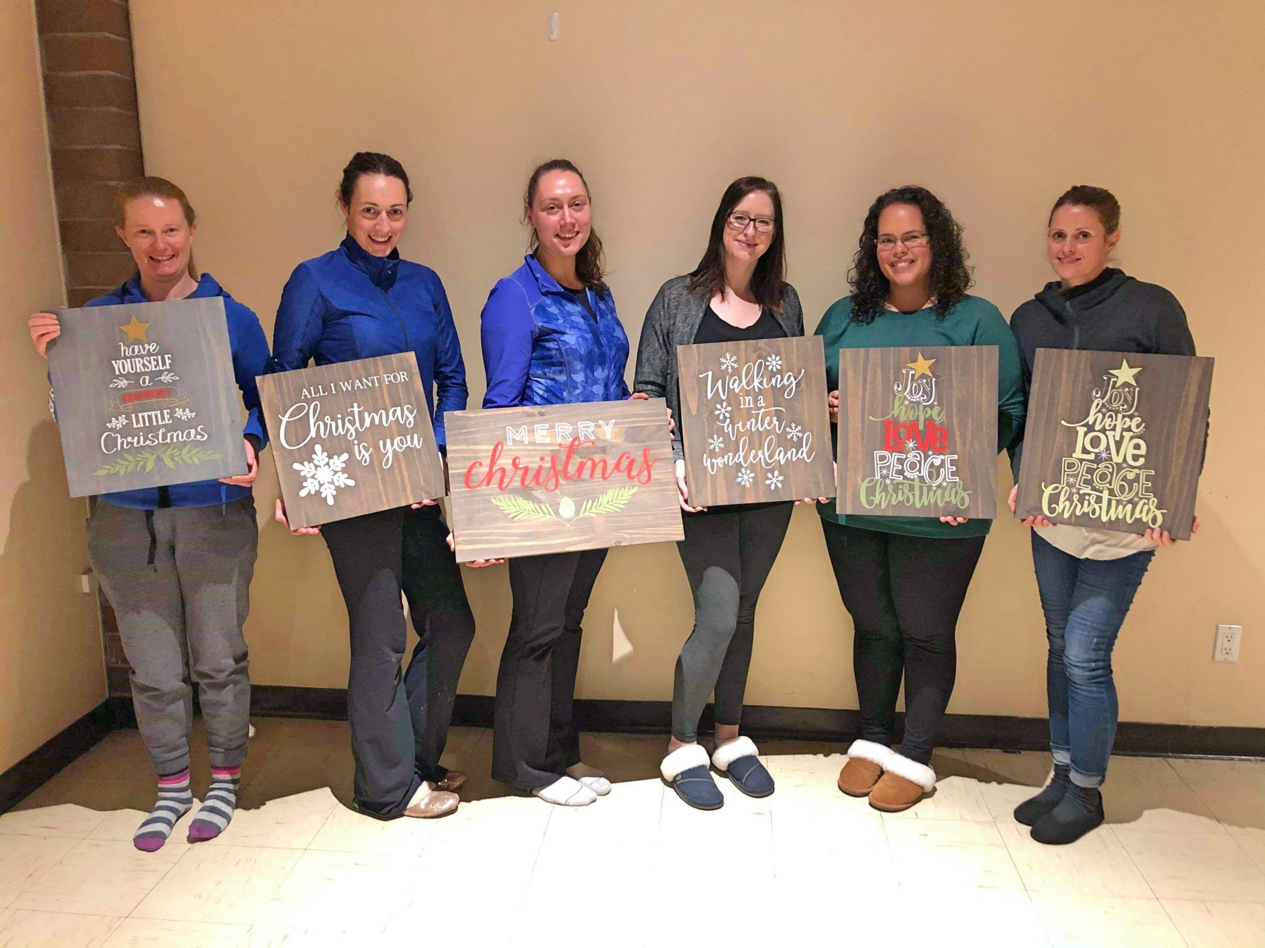 Christmas Sign Painting Group with Finished Signs