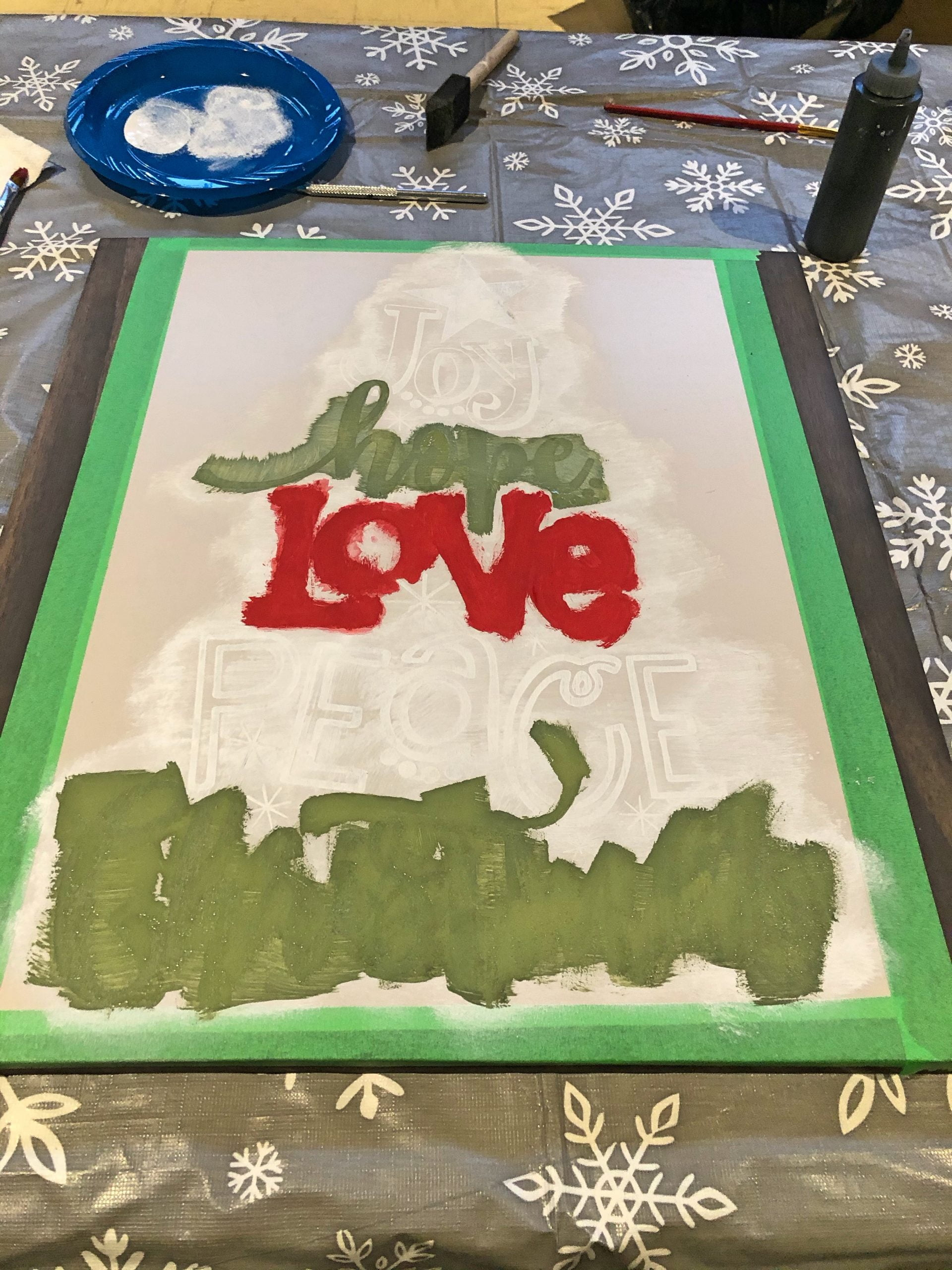 Christmas Sign Painting - Mid-Painting