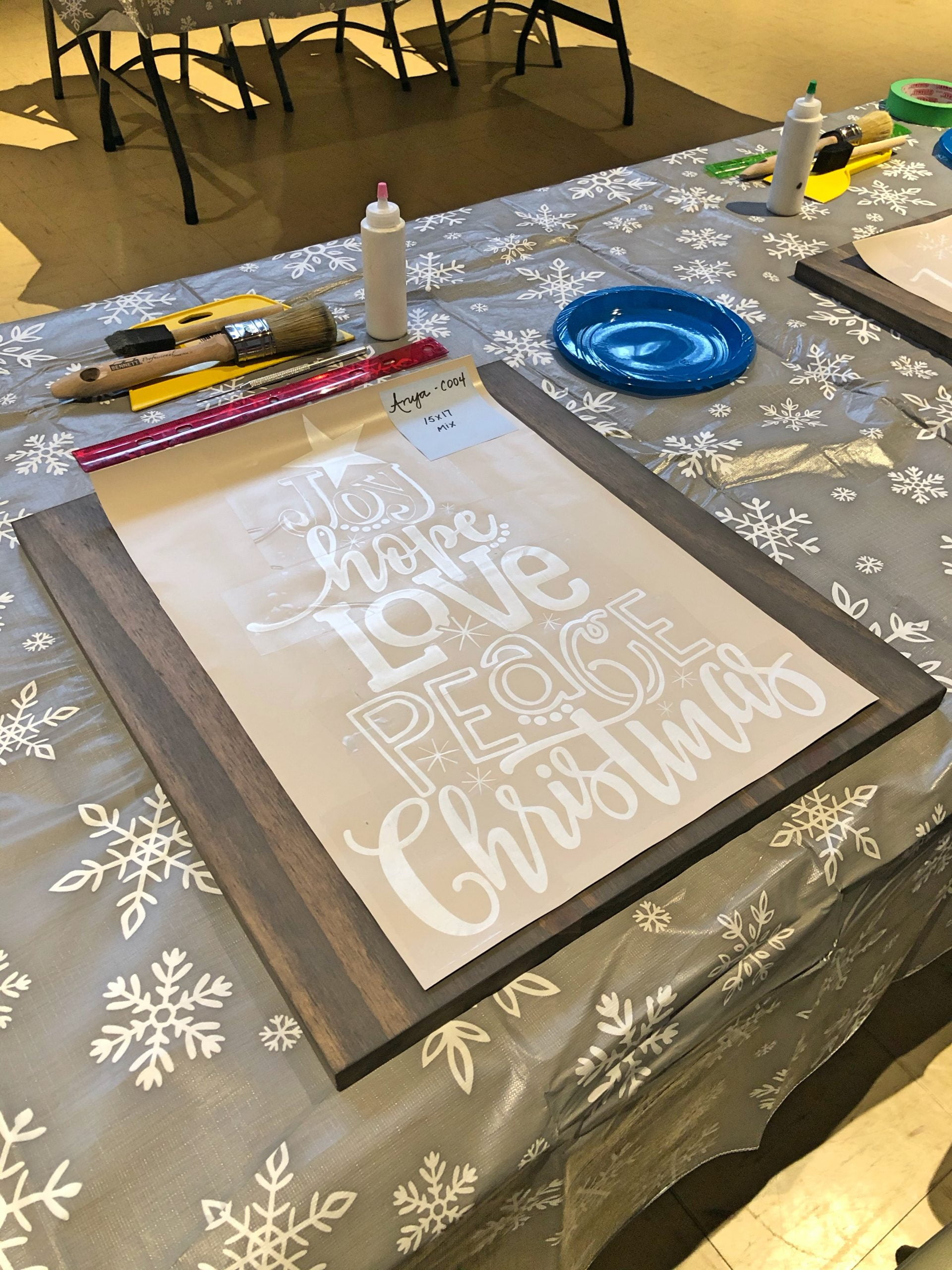 Christmas Sign Painting - Stencil on Board