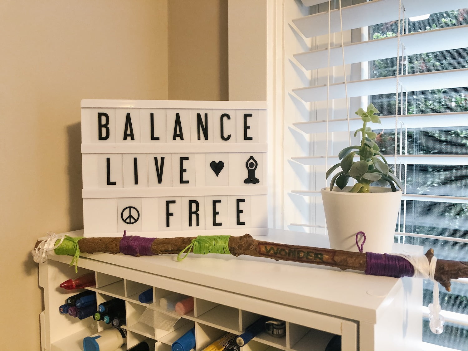 Desktop - Inspirational Sign, Succulent and Intention Stick