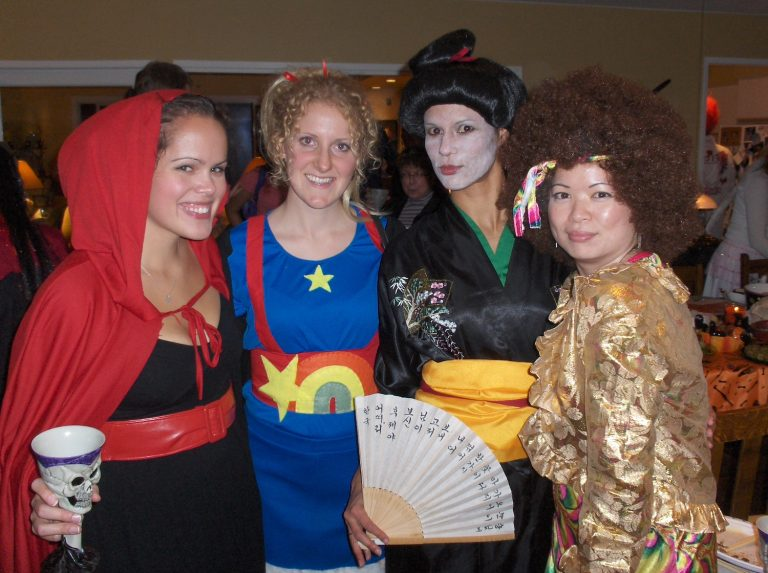 Halloween 2008 - Little Red Riding Hood, Rainbow Bright, Geisha and Hippie