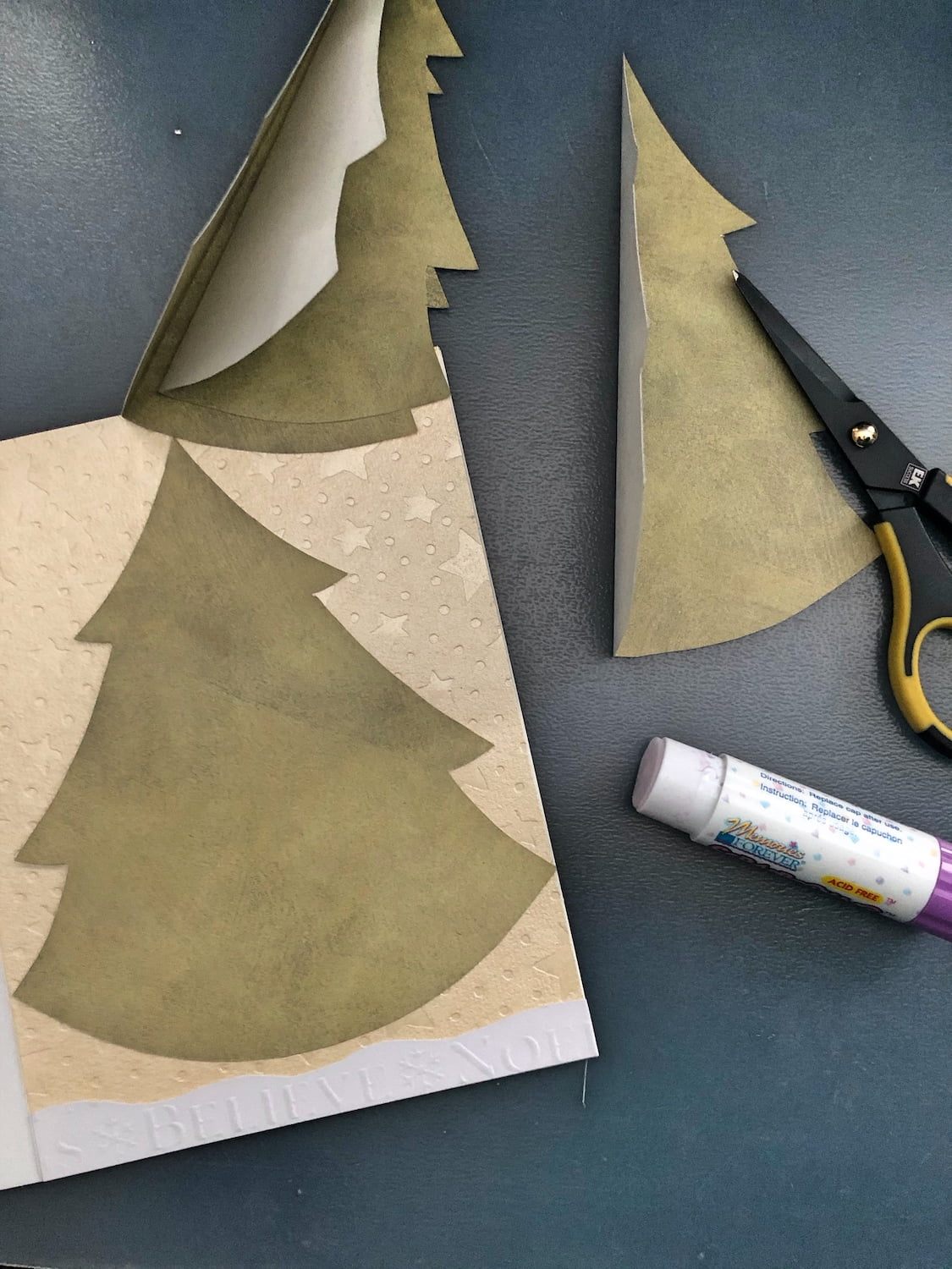 Handmade Christmas Card - Cut Out Trees