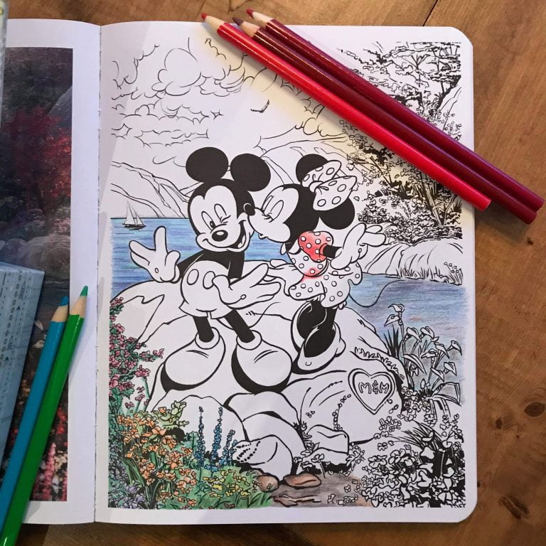 Mickey and Minnie Adult Colouring Book