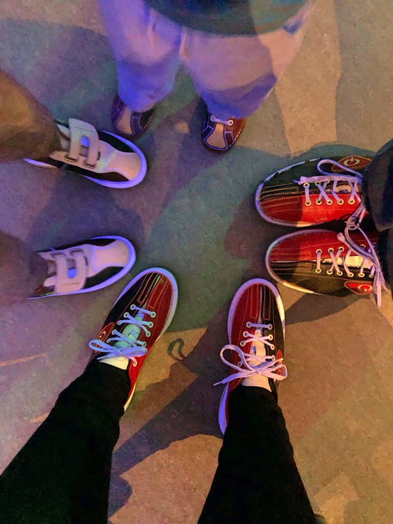 Family of Four Goes Bowling