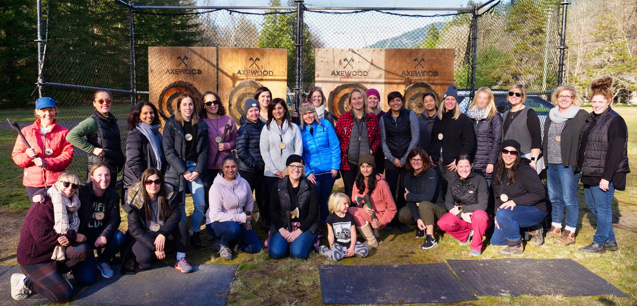 Mom Camp Group Photo Post-Axe Throwing