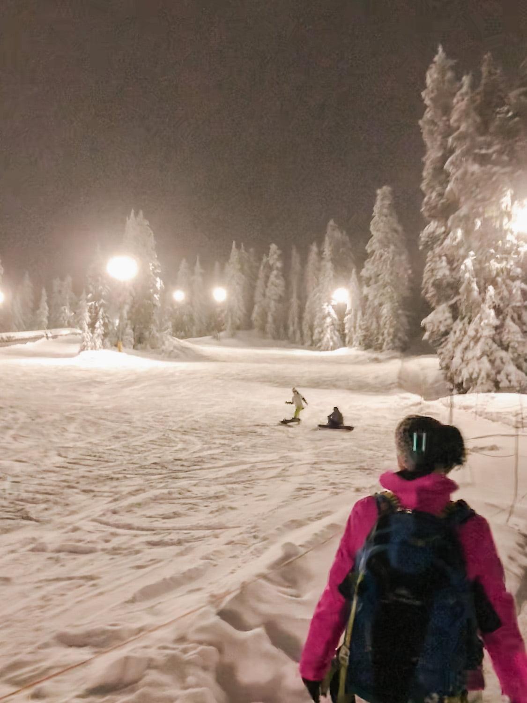 Night Snowshoeing at Mt Seymour