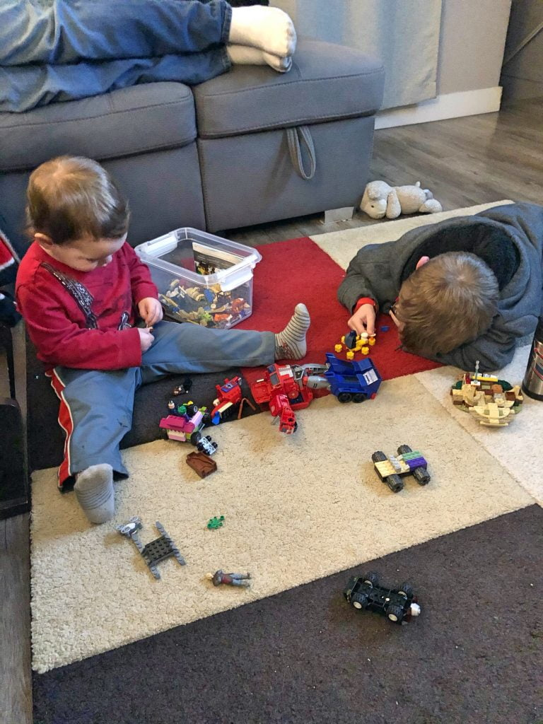 Brothers Playing Lego Together