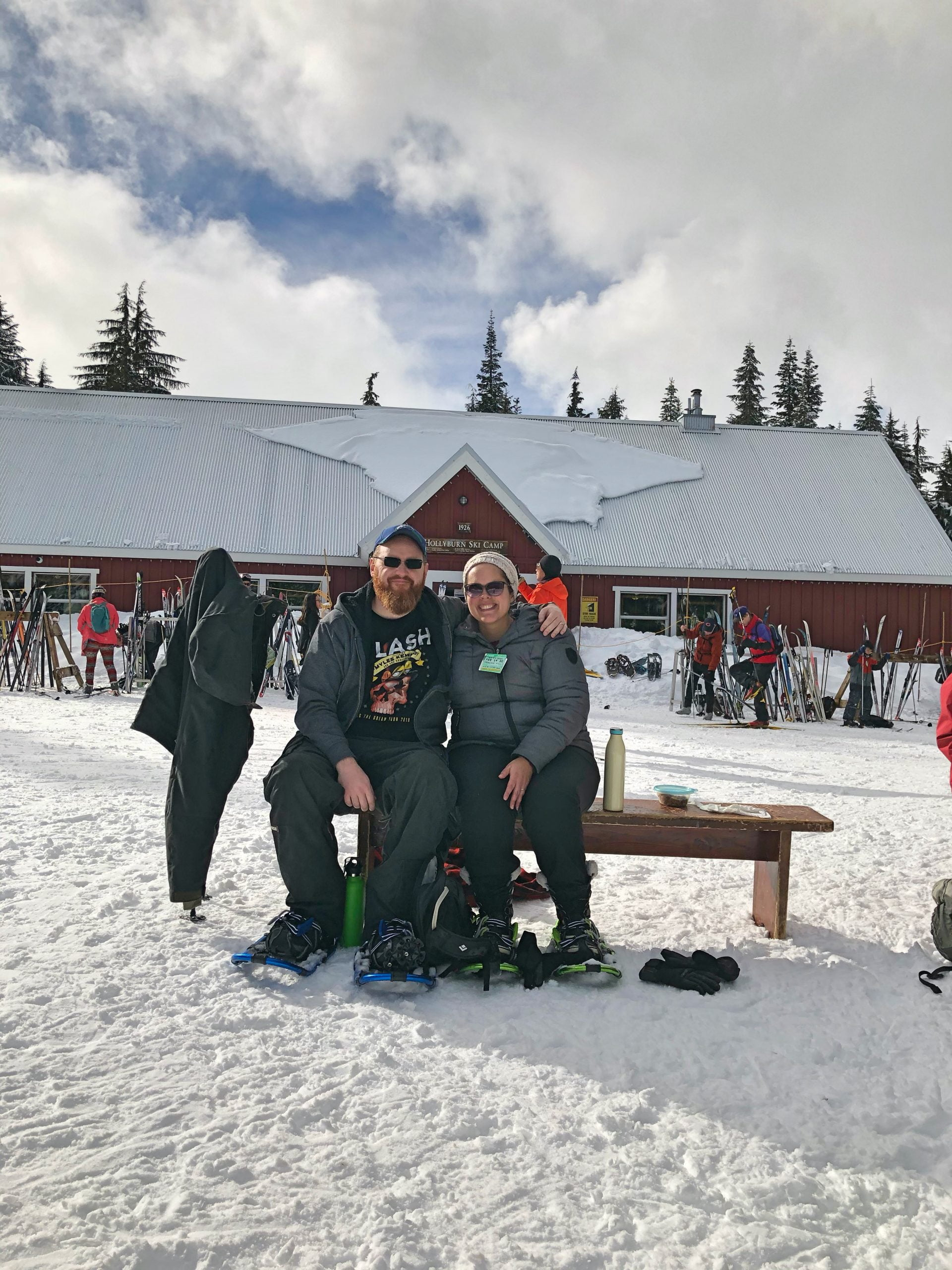 Taking a Break while Snowshoeing at Cypress Mountain