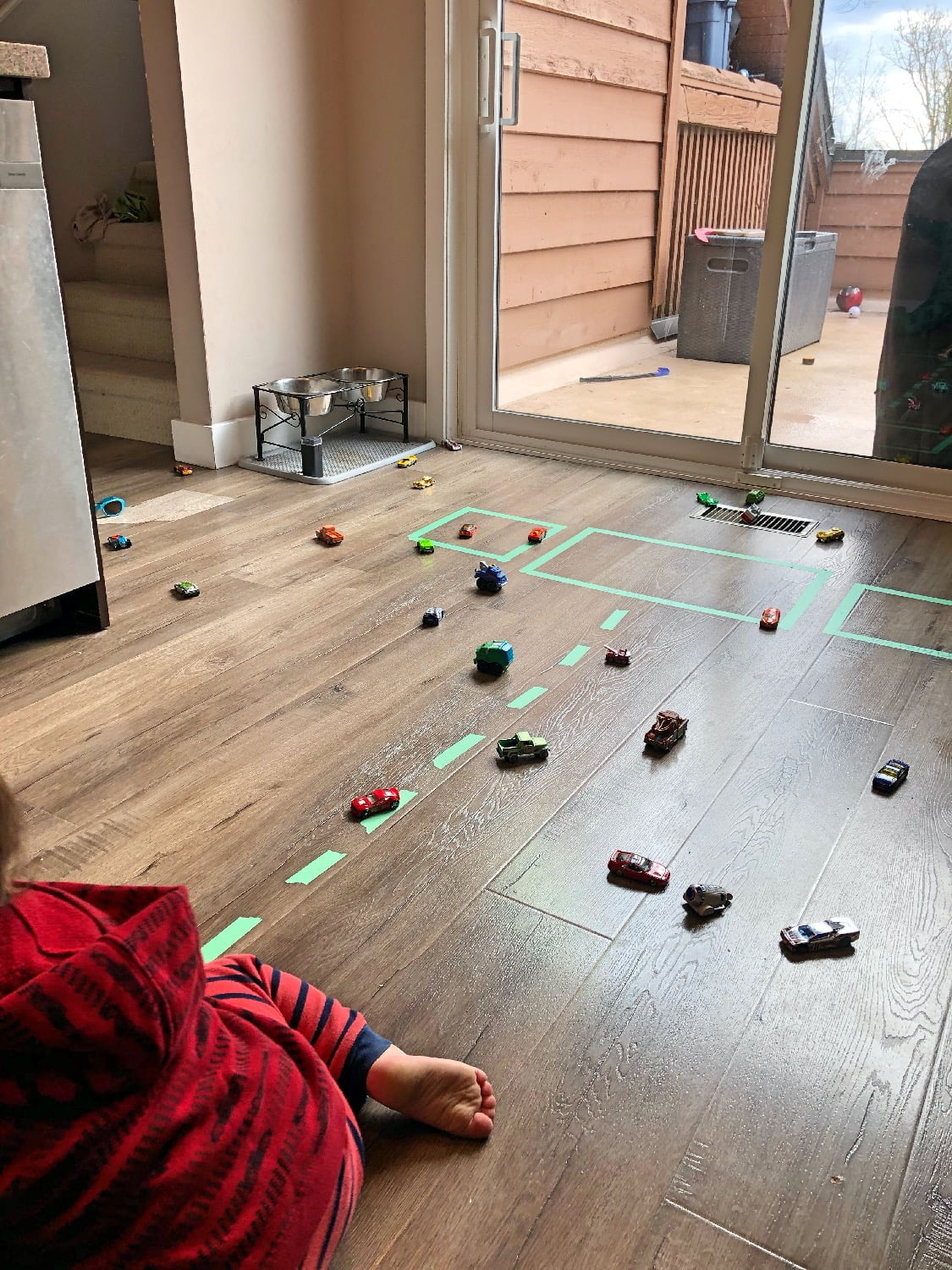 Race Car Game on Kitchen Floor