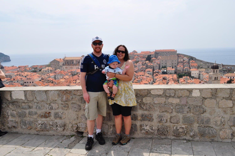 Croatia - Family posing at Dubrovnik walled city