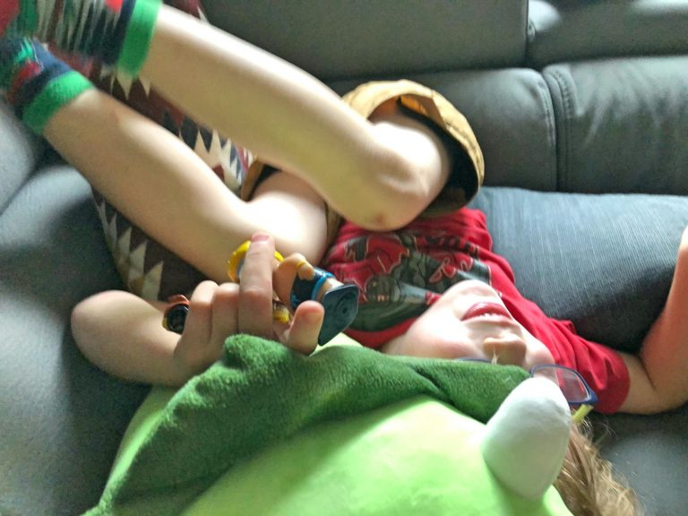 Six Year Old Upside Down on Couch