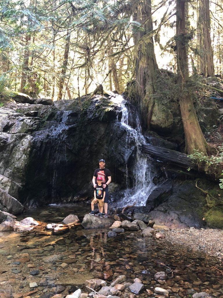 Dad and Son at Waterfalls, Halfmoon Bay, BC