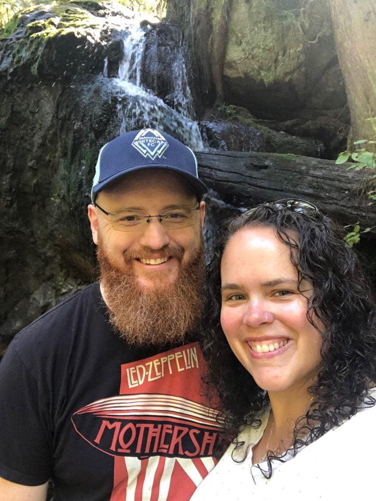 Happy Husband and Wife at Waterfalls, Halfmoon Bay, BC
