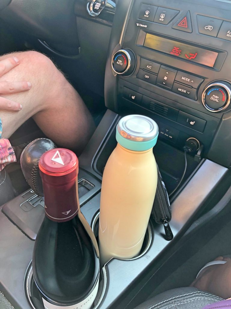 Car Cup Holders with Wine and Water Bottles