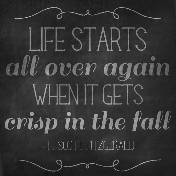 F Scott Fitzgerald Quote on Chalkboard