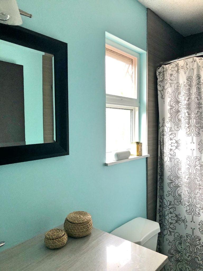 Freshly Painted Light Blue Bathroom