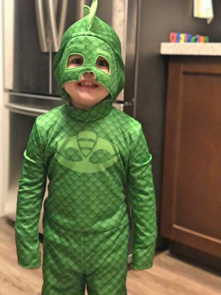 Toddler in Green Gecko Costume