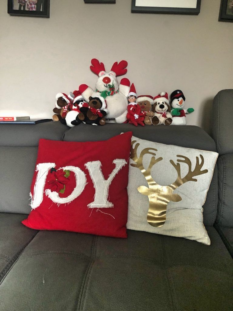 Elf on the Shelf Hiding with Christmas Stuffies