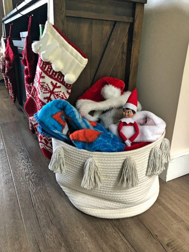Elf on the Shelf in Basket of Blankets