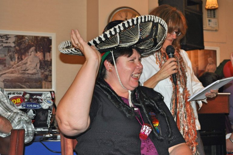 Lady at her 50th Birthday Party Wearing Sombrero