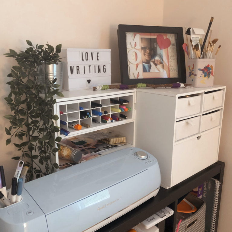 Crafter's Corner in Office with Picture, Fake Plant and Cricut Machine